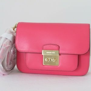 NEW Michael Kors Sloan Editor Rose Pink Leather La